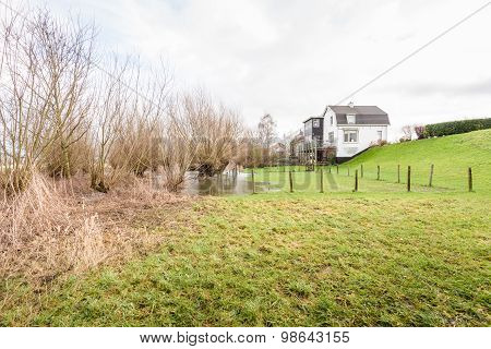 High Water Level At A Dutch Dike