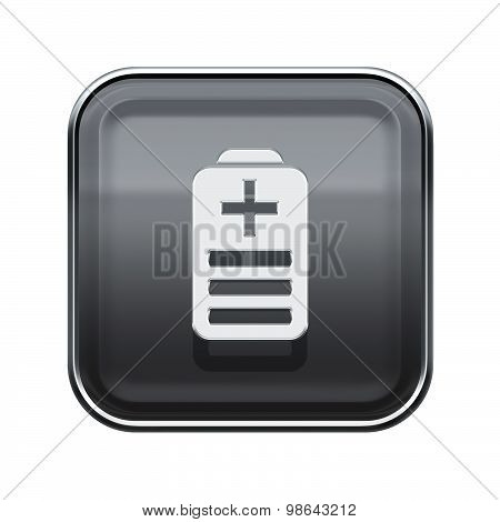 Battery Icon Glossy Grey, Isolated On White Background