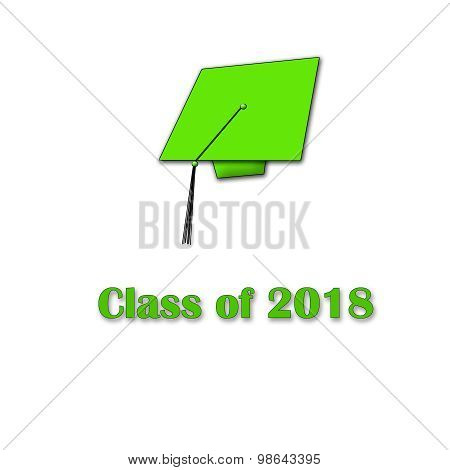 Class of 2018 Green on White Single Large