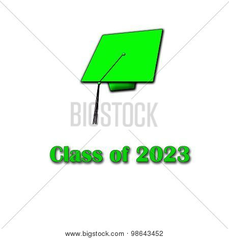 Class of 2023 Green on White Single Large