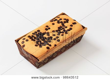 homemade sponge cake topped with chocolate chips