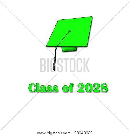 Class of 2028 Green on White Single Large