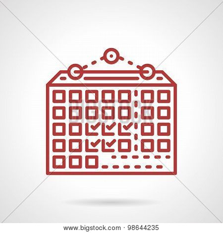 Wall calendar red line vector icon