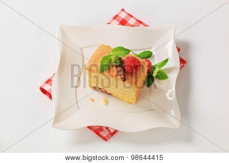 a piece of homemade sponge cake on white plate