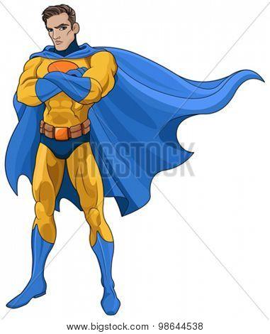 Illustration of very muscular Superhero