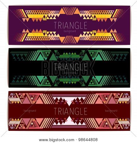 Set Of Banners. Triangle Geometric Abstract Background