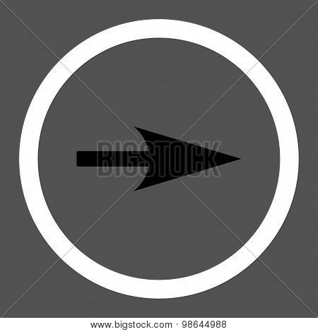 Arrow Axis X flat black and white colors rounded vector icon