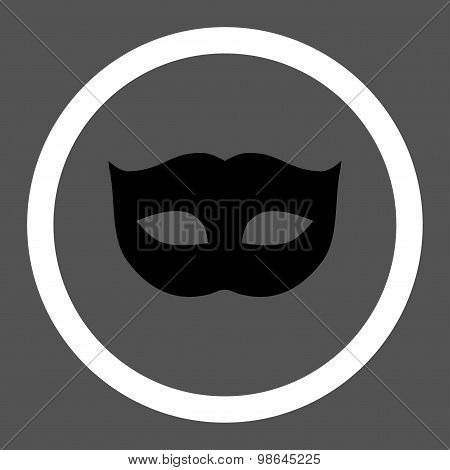 Privacy Mask flat black and white colors rounded vector icon