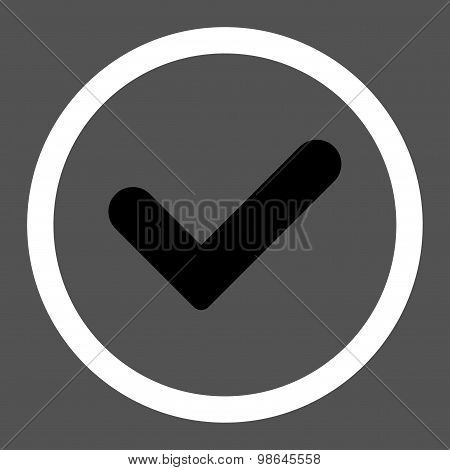 Yes flat black and white colors rounded vector icon