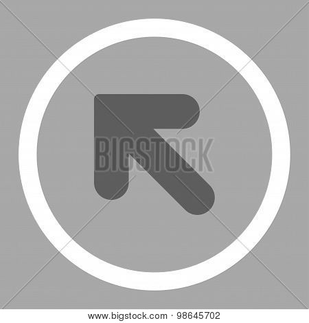 Arrow Up Left flat dark gray and white colors rounded vector icon