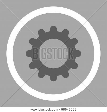 Gear flat dark gray and white colors rounded vector icon