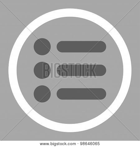 Items flat dark gray and white colors rounded vector icon