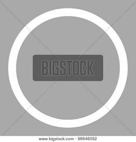 Minus flat dark gray and white colors rounded vector icon