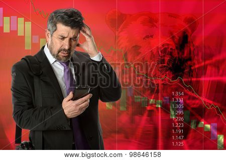 Business concept representing stock market crash with businessman getting bad news
