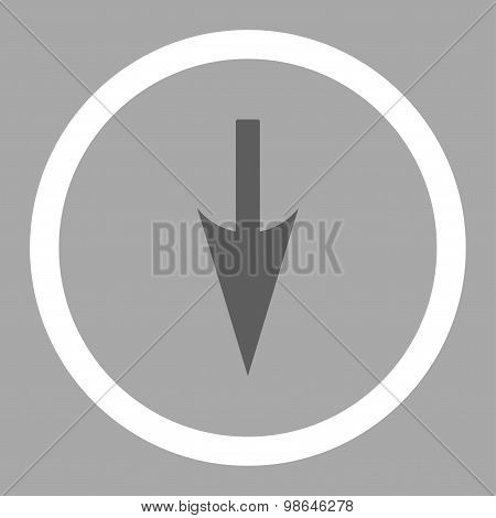 Sharp Down Arrow flat dark gray and white colors rounded vector icon