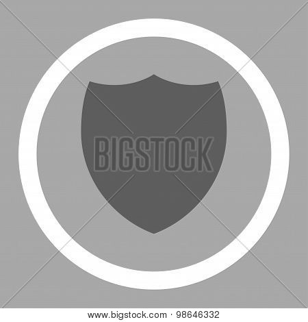 Shield flat dark gray and white colors rounded vector icon