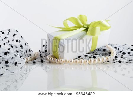Gift Box And Pearls