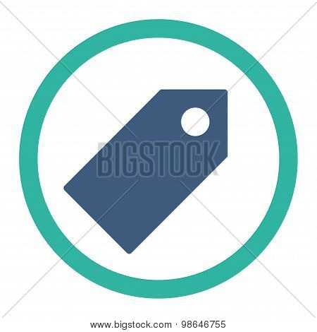 Tag flat cobalt and cyan colors rounded raster icon