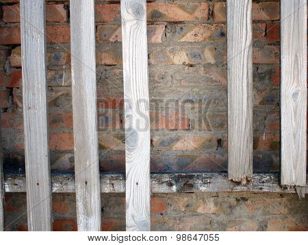 Old Wooden, Unpainted And Rotten Boards