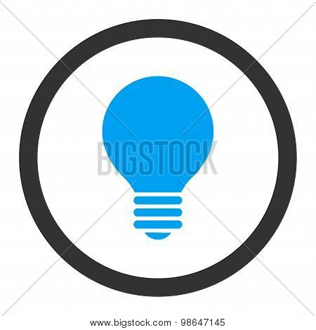 Electric Bulb flat blue and gray colors rounded raster icon