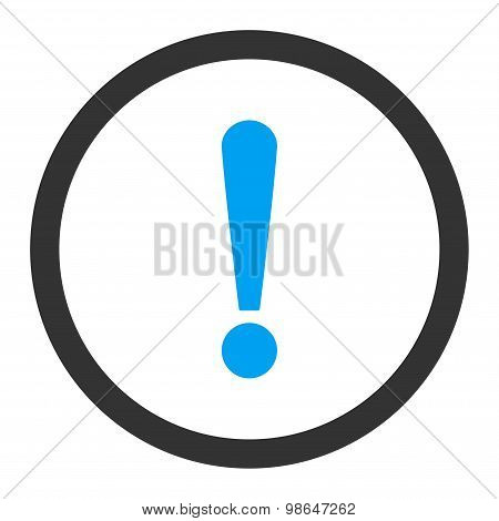 Exclamation Sign flat blue and gray colors rounded raster icon