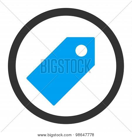Tag flat blue and gray colors rounded raster icon