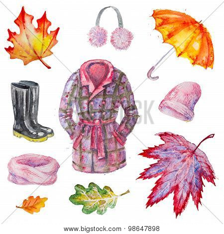 Watercolor isolated autumn accessories
