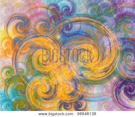 Abstract Multicolored Fractal With Swirls Over White Background