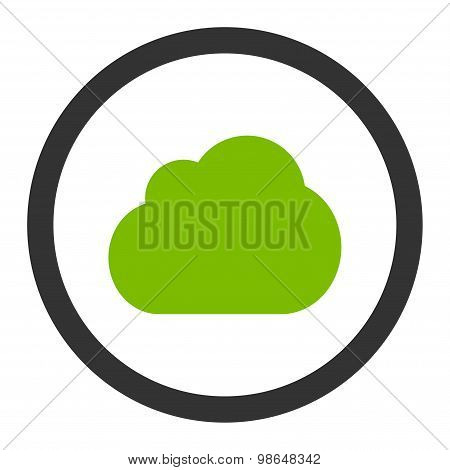 Cloud flat eco green and gray colors rounded raster icon