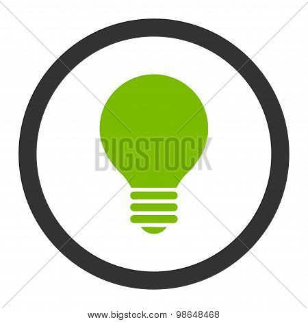 Electric Bulb flat eco green and gray colors rounded raster icon