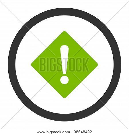 Error flat eco green and gray colors rounded raster icon