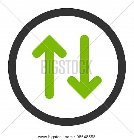 Flip flat eco green and gray colors rounded raster icon