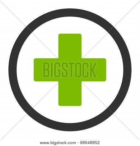Plus flat eco green and gray colors rounded raster icon