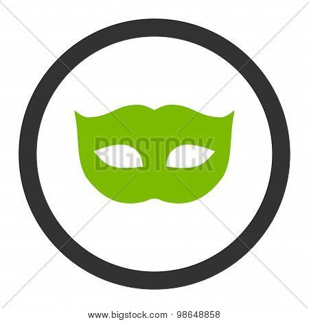 Privacy Mask flat eco green and gray colors rounded raster icon