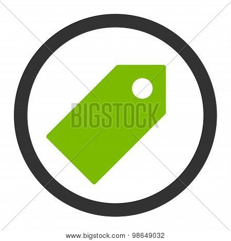 Tag flat eco green and gray colors rounded raster icon