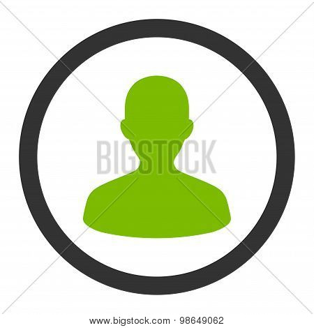 User flat eco green and gray colors rounded raster icon