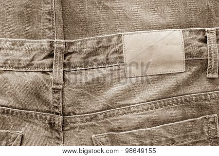 Texture Fabric Of Jeans Clothes Sepia Color