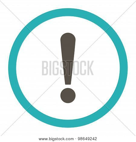 Exclamation Sign flat grey and cyan colors rounded raster icon
