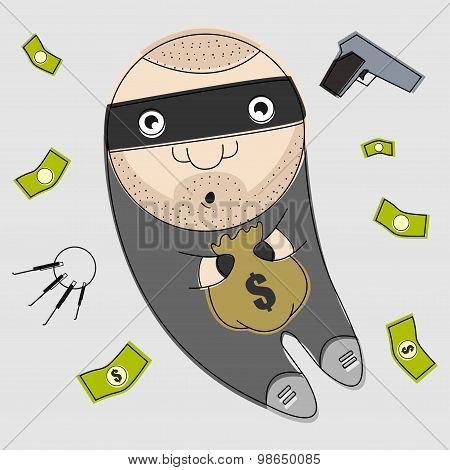 Funny thief. Illustration