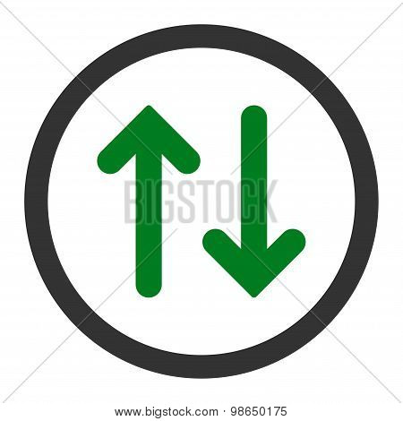 Flip flat green and gray colors rounded raster icon