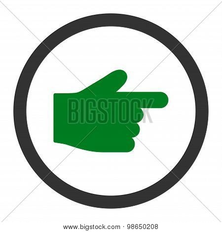 Index Finger flat green and gray colors rounded raster icon