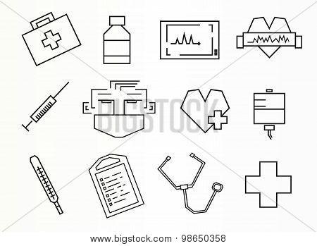 Line art medicine icons
