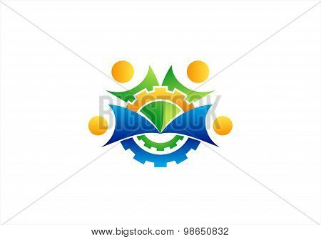 mechanical team logo,engine,gear,team work,people symbol icon vector design