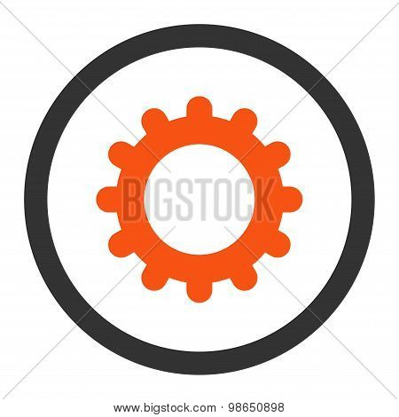 Gear flat orange and gray colors rounded raster icon
