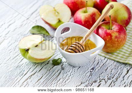 Fresh Red Apples With Honey. Rosh Hashana. Copy Space