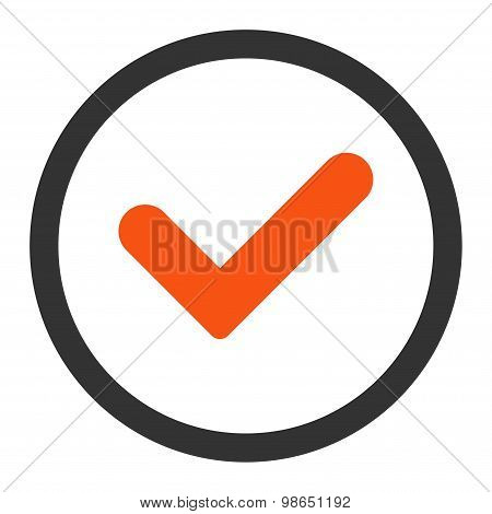 Yes flat orange and gray colors rounded raster icon