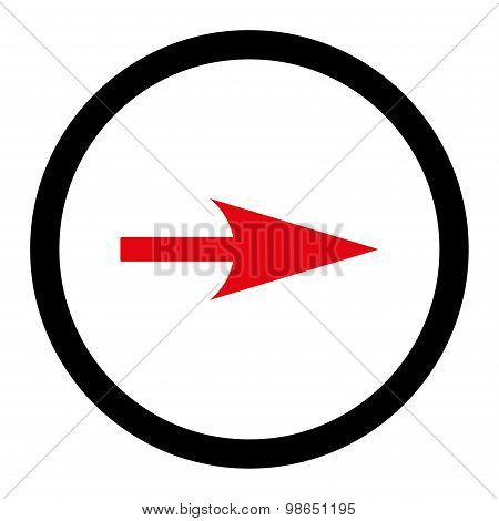 Arrow Axis X flat intensive red and black colors rounded raster icon