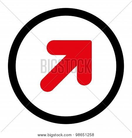 Arrow Up Right flat intensive red and black colors rounded raster icon