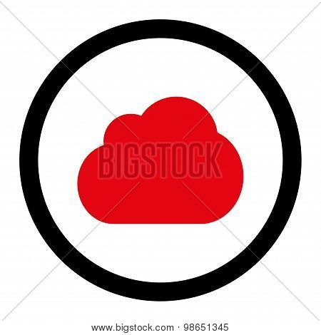 Cloud flat intensive red and black colors rounded raster icon