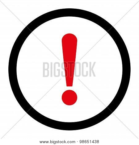 Exclamation Sign flat intensive red and black colors rounded raster icon